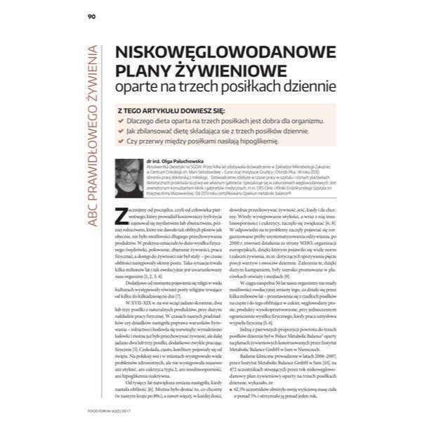 """""""Niskowęglowodanowe plany żywieniowe oparte na trzech posiłkach dziennie"""" dla FOOD FORUM"""